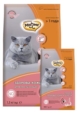 Сухой корм Мнямс Skin&Coat с лососем для кошек для кожи и шерсти