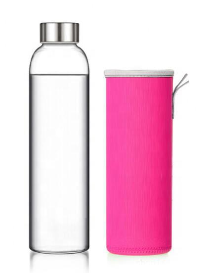 Бутылка из боросиликатного стекла 0,55 л в розовом чехле