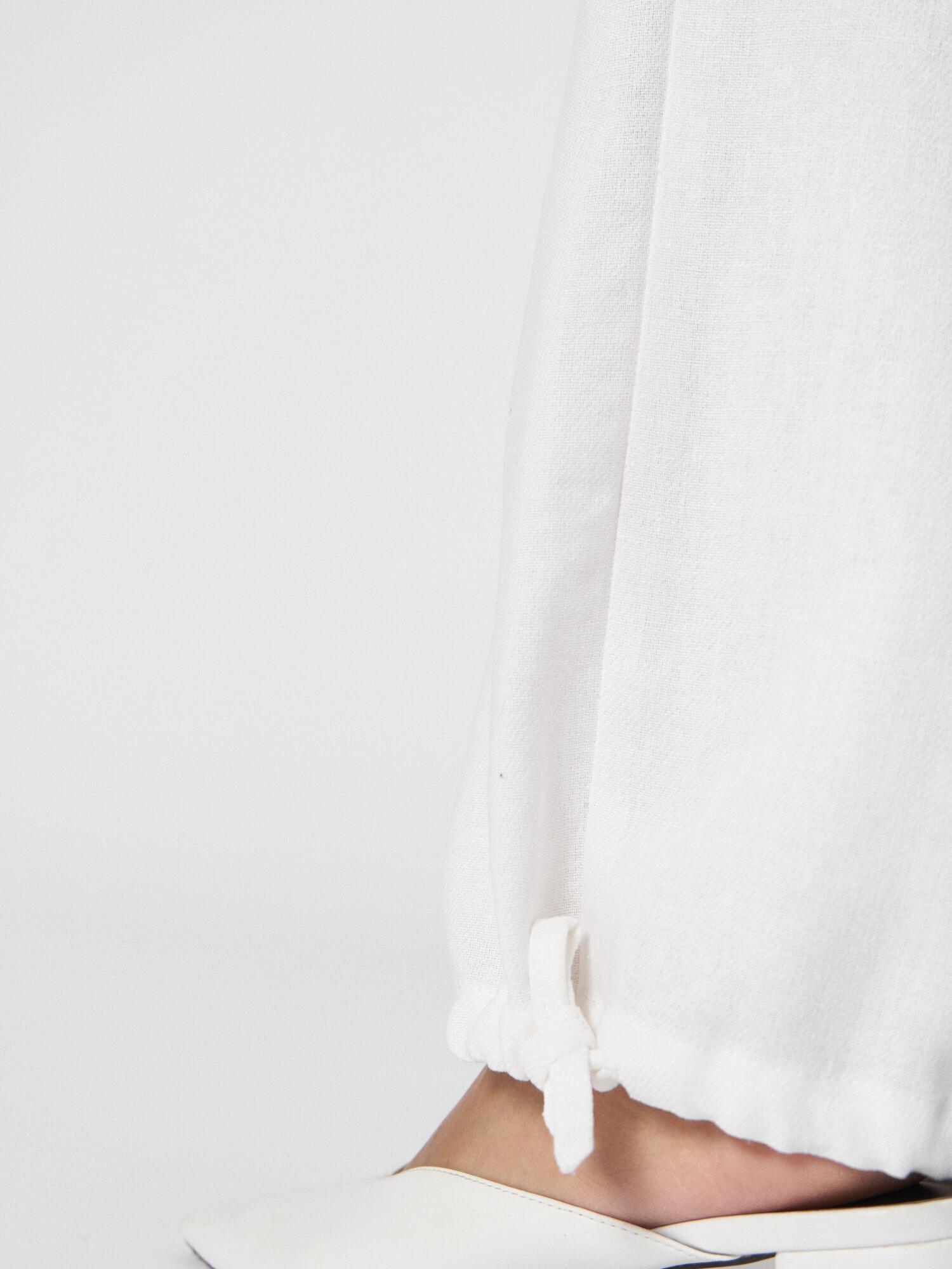 Брюки-кимоно Akane в пижамном стиле, Белый