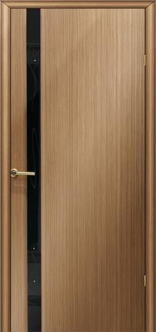 Дверь Модерн 3 (стекло чёрный бриллиант) (светлый дуб, остекленная шпонированная), фабрика LiGa