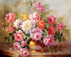 Картина раскраска по номерам 40x50 Разноцветные розы в круглой вазе