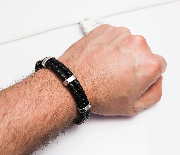 BM461 Стильный мужской браслет из кожаных шнуров со сталью (20 см) фото 05