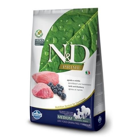12 кг. FARMINA N&D Prime Сухой беззерновой корм для взрослых собак с ягненком и черникой Adult Lamb&Blueberry