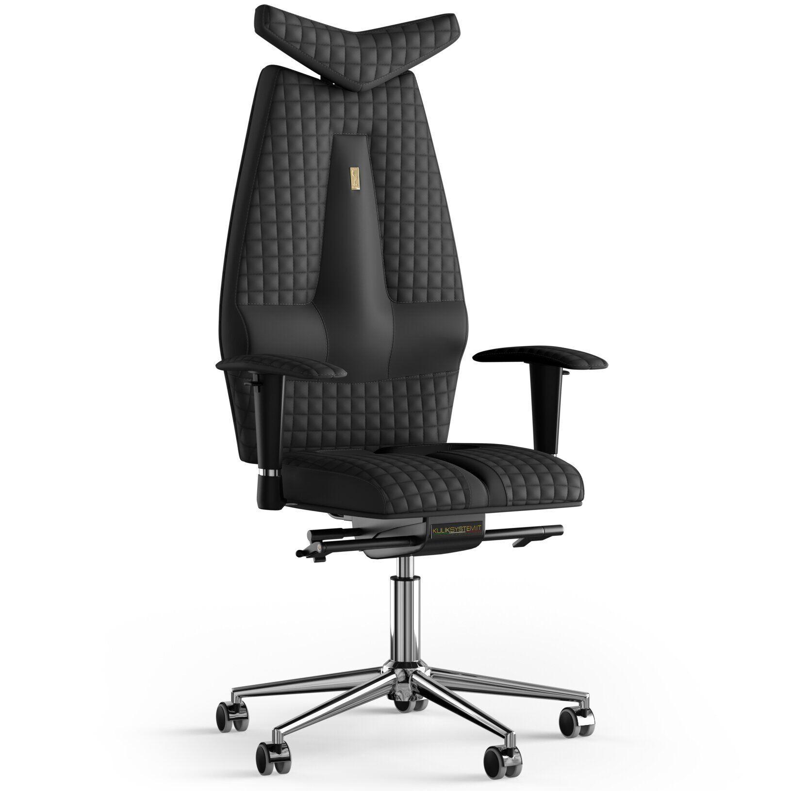 Кресло KULIK SYSTEM JET Экокожа с подголовником со строчкой