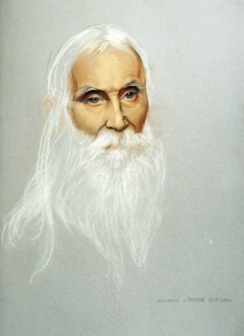 Портрет Старца Николая Гурьянова на дереве на левкасе мастерская Иконный Дом
