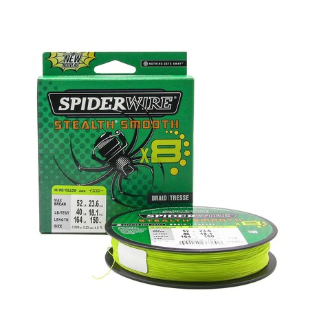 Плетеная леска Spiderwire Stealth Smooth 8 Braid Ярко-желтая 150м 0,23мм 23,6кг