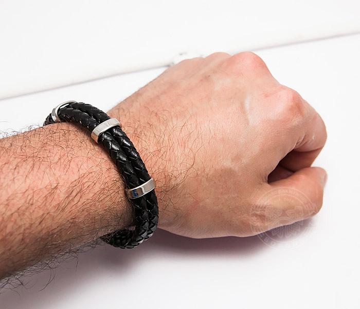 BM461 Стильный мужской браслет из кожаных шнуров со сталью (20 см) фото 06