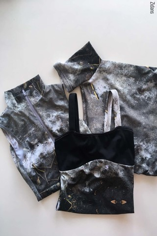Set: leotards, stained in print mud