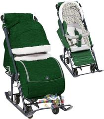 Санки-коляска Nika (арт. НД7-1Б) вязаный зелёный