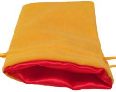 Золотой бархатный мешочек для кубиков с красной атласной подкладкой