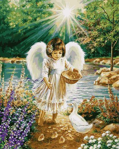 Алмазная Мозаика 30x40 Ангелок кормит птиц