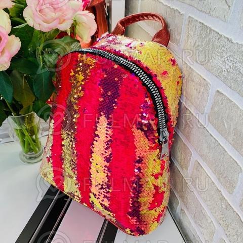 Большой рюкзак в двусторонних пайетках для девочки (цвет: Малиновый хамелеон-Розовый)