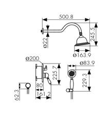 Смеситель KAISER Rios 31077-1 Bronze смеситель для скрытого монтажа с верхним и ручным душем схема