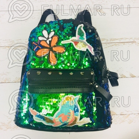Рюкзак с пайетками и нашивками зелёно-голубой