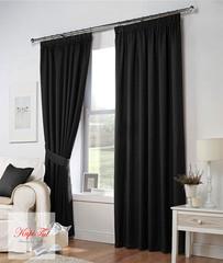 Длинные шторы. Тоскана (чёрный) рогожка.