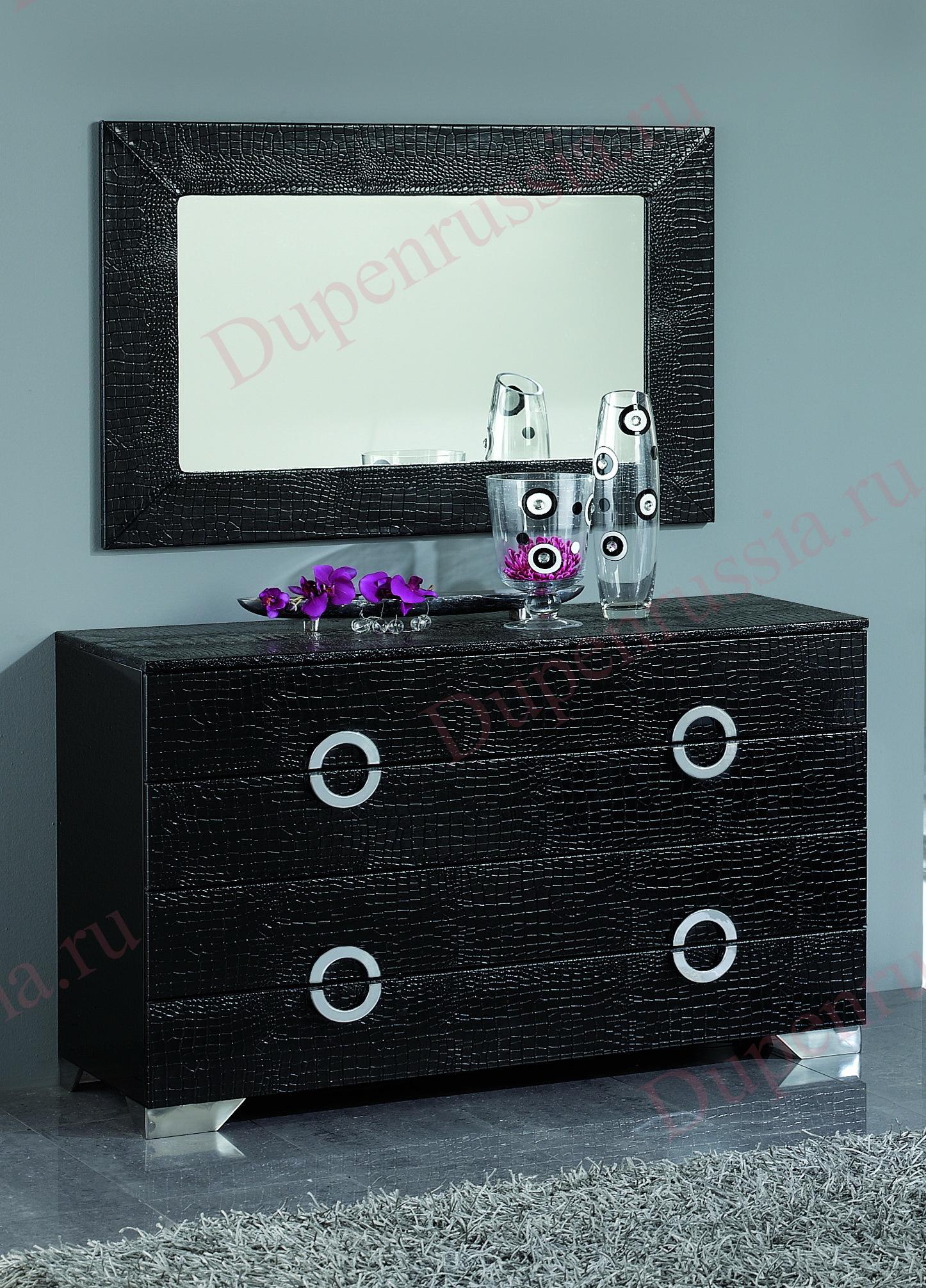 Комод горизонтальный DUPEN С-97 черный,  Зеркало DUPEN Е-98 черное