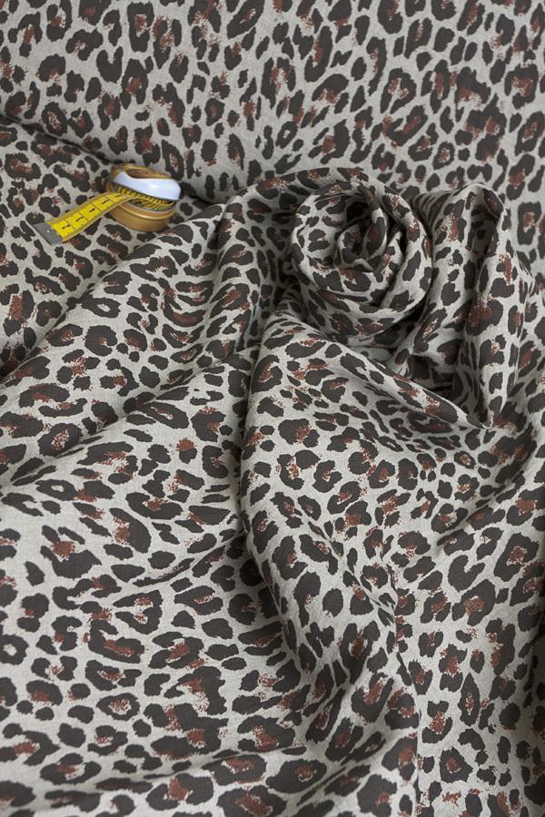 Лен смягченный, принт леопардовый 1