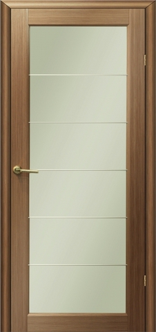 Дверь Модерн 4 (стекло белое матовое) (светлый дуб, остекленная шпонированная), фабрика LiGa