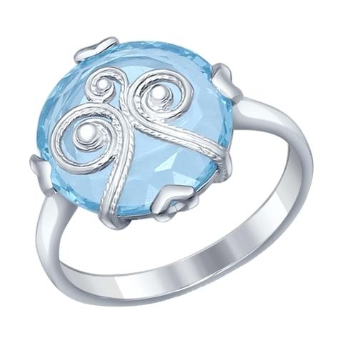 92011226- Кольцо из серебра с круглым, голубым ситаллом и сканью