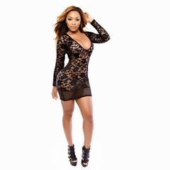Прозрачное мини-платье с рукавами (черный) S/M