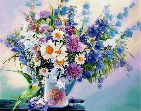 Картина раскраска по номерам 40x50 Полевые цветы в белой вазе