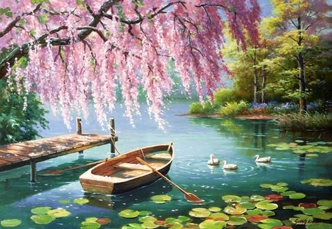 Картина раскраска по номерам 40x50 Лодка на реке под розовым деревом (арт. Y5137)