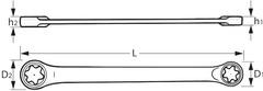 Двусторонний накидной гаечный ключ с трещоткой для болтов Torx®