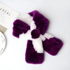 Вязаный меховой шарф-воротник (кролик) фиолетово-белый