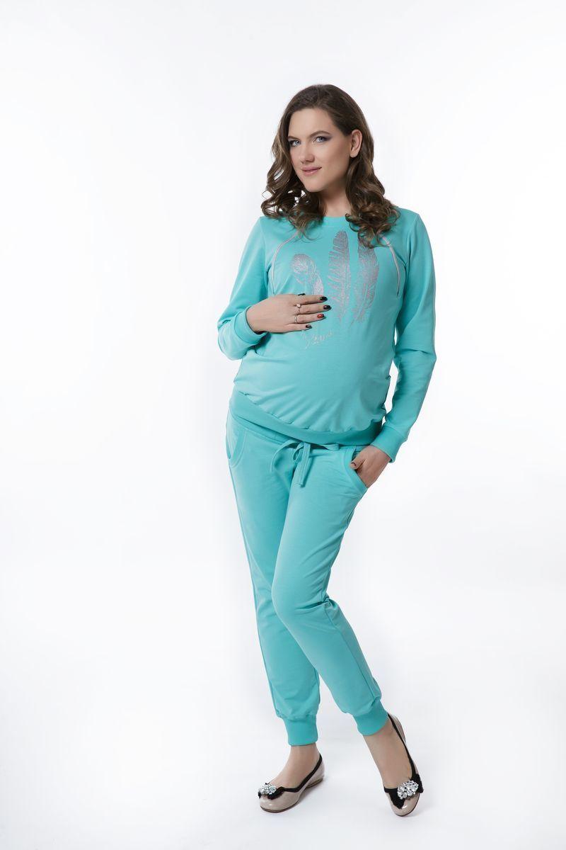 Спортивный костюм для беременных и кормящих 08369 зеленый