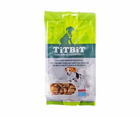 Titbit хрустящие подушечки с начинкой со вкусом кролика и творога для щенков 95г