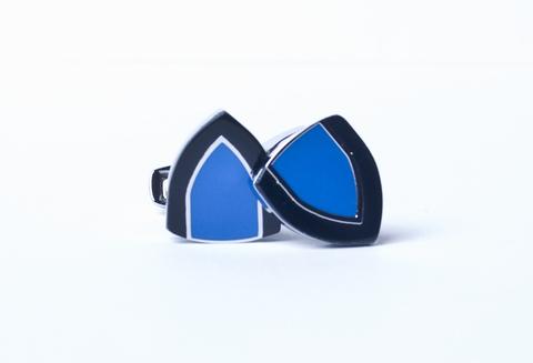 Запонки La madre белого металла сине-черные треугольные