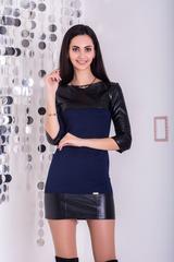Боня. Молодежное платье с  эко-кожей. Синий