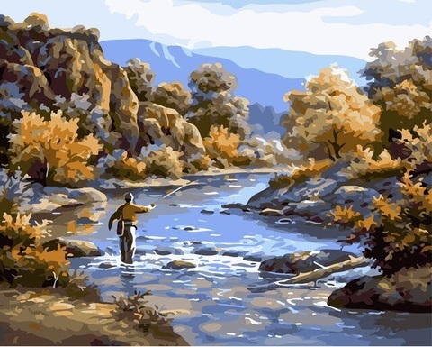 Картина раскраска по номерам 40x50 Осенняя рыбалка (арт. Y5141)