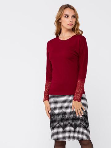 Фото яркий бордовый джемпер с длинными рукавами и кружевной отделкой - Джемпер В577-207 (1)