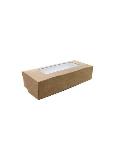 Коробка для сладостей, пряников и печенья, с окном, 170*70*40 мм, двусторонняя белая\крафт