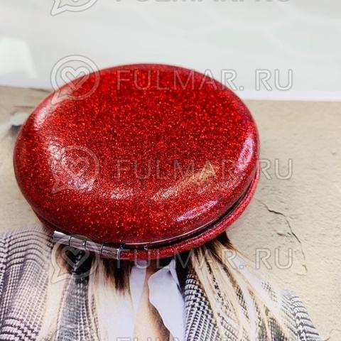 Зеркало складное карманное French macarons с блёстками Клубничное