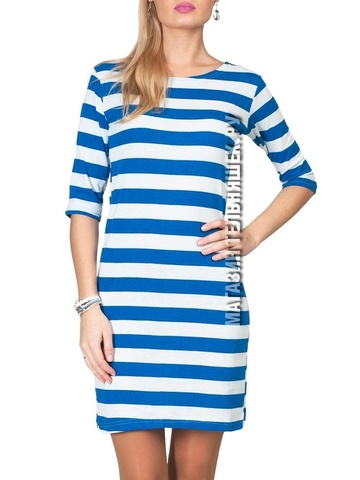 Платье с широкой насыщенно-голубой полосой
