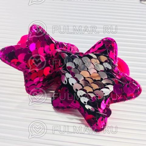 Набор резинки для волос с двусторонними пайетками меняют цвет Фуксия-Серебристый (2 шт.)