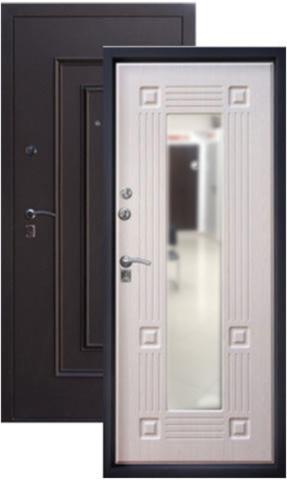 Дверь входная Алмаз 1 Руст стальная, беленый дуб, 2 замка, фабрика Алмаз