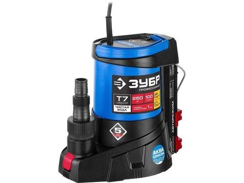 ЗУБР Профессионал НПЧ-Т7-250 АкваСенсор дренажный насос, с регул. датчиком уровня и мин. уровнем откачки до 1 мм, 250 Вт