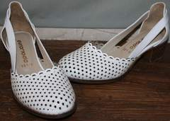 Стильные туфли на низком каблуке Evromoda 101-6 White.