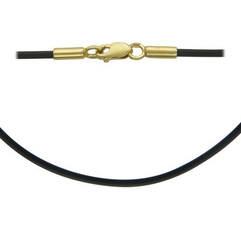 Каучуковый шнур для подвесок с замками из желтого золота 585 пробы