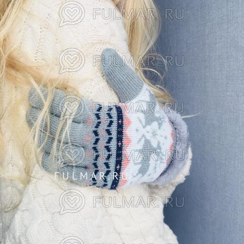 Перчатки с оленями шерстяные женские (Цвет: серый)