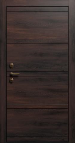 Входная дверь «Linea 2» в цвете, Сосна кофе (натуральный шпон)