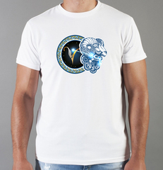Футболка с принтом Знаки Зодиака, Овен (Гороскоп, horoscope) белая 0040
