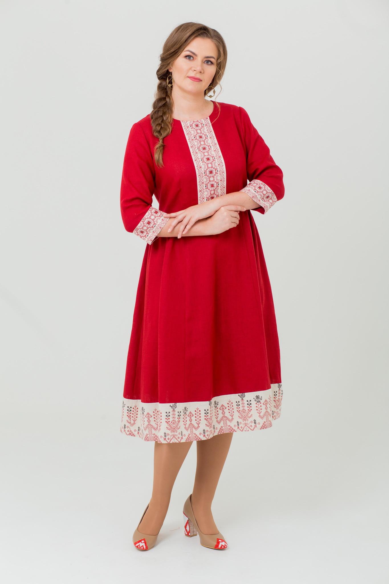 Льняное платье миди Вишнёвый сад из 100% льна
