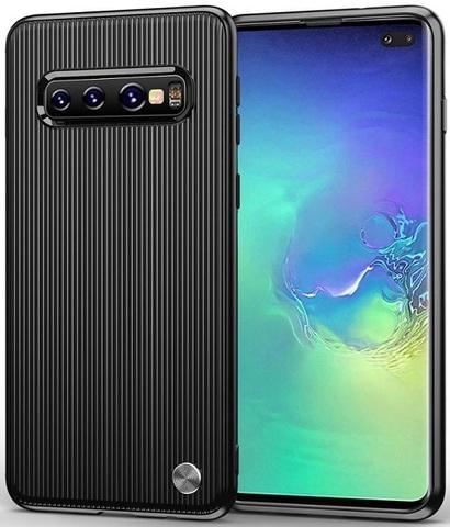 Чехол Samsung Galaxy S10 Plus цвет Black (черный), серия Bevel, Caseport