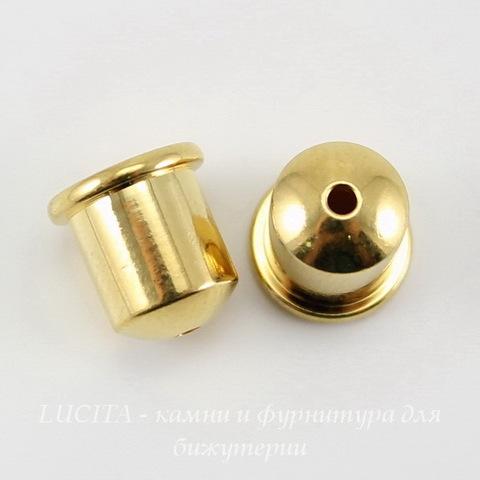 """Концевик для шнура 6 мм TierraCast """"Купол"""" (цвет-золото) 9х9 мм ()"""