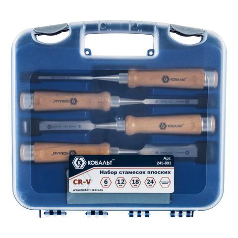 Набор стамесок КОБАЛЬТ плоских: 6, 12, 18, 24 х 140 мм, CR-V, деревянная рукоятка, точильн (245-893)