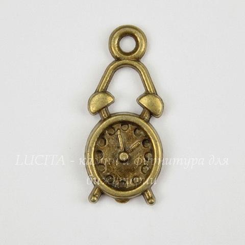 "Подвеска ""Будильник"" 19х8 мм (цвет - античная бронза)"
